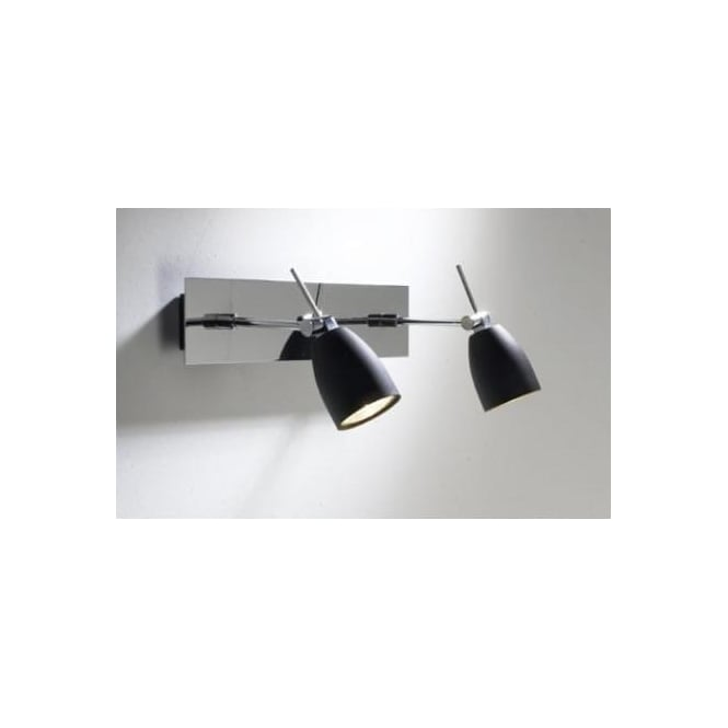Dar EMP0950 Empire 2 light modern wall spotlight matt black/polished chrome finish (switched)