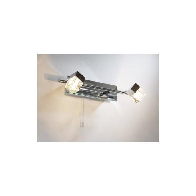 Dar LOG7750 Logic 2 light modern bathroom spotlight wall light IP44 rated polished chrome finish