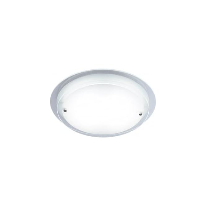 Dar COR472/28LE Corpus 1 light low energy circular flush ceiling light frosted/clear glass finish