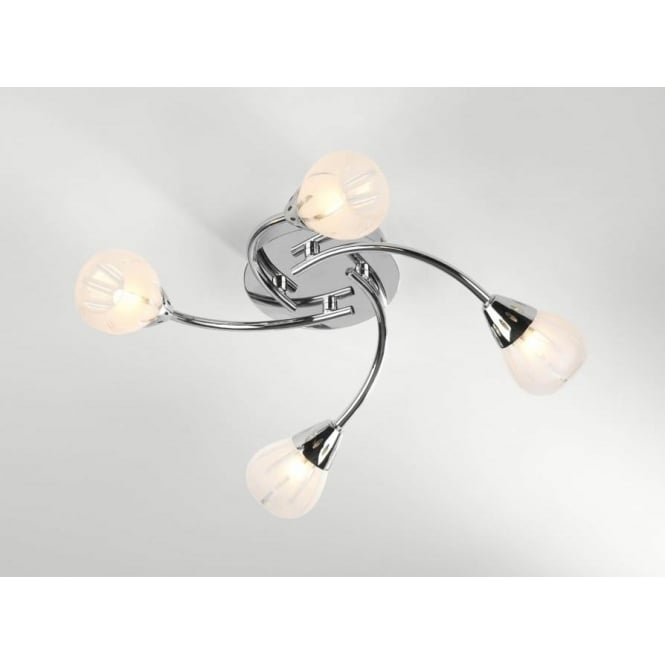 Dar VIL0450 Villa 4 light modern flush ceiling light acid etched glass polished chrome finish