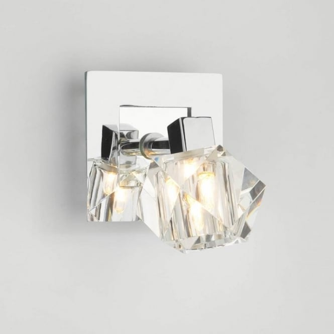 Dar GEO0750 Geo 1 light modern wall light spotlight crystal and polished chrome finish (switched)