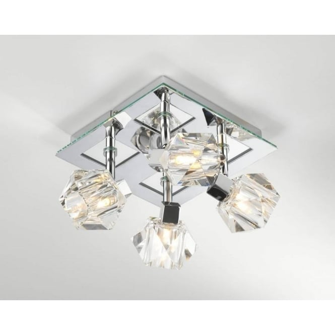 Dar GEO8550 Geo 4 light modern ceiling light spotlight crystal and polished chrome finish