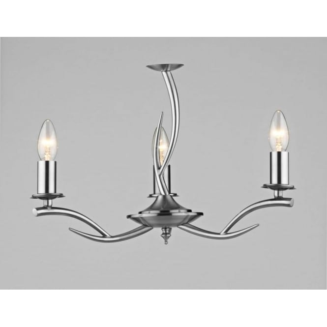 Dar ELK0346 Elka 3 light traditional ceiling light pendant satin chrome finish