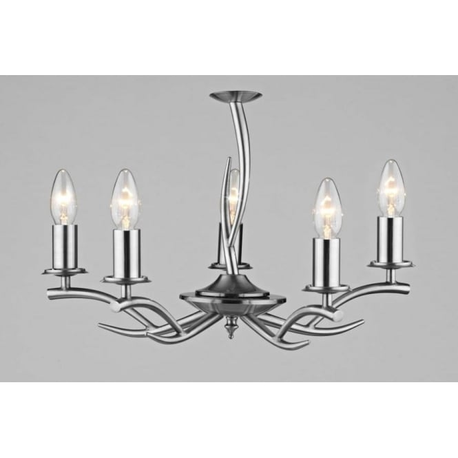 Dar ELK0546 Elka 5 light traditional pendant ceiling light satin chrome finish