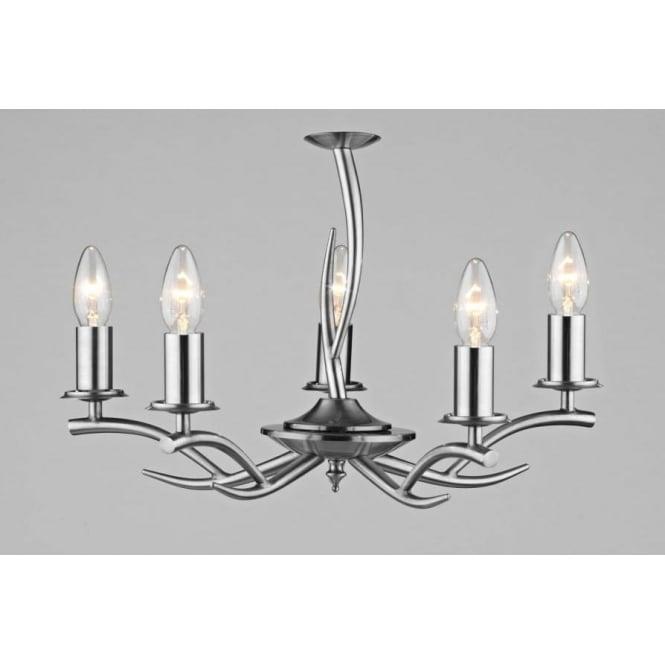 Dar ELK0546 Elka 5 light traditional pendant ceiling light satin chrome finish