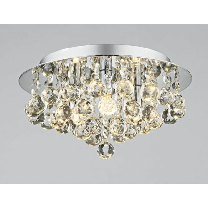 Dar PLU5250 Pluto 3 light modern ceiling light flush polished chrome finish