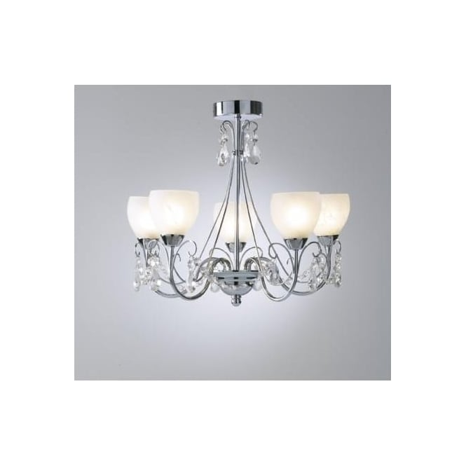 Dar CRA0550 Crawford 5 light modern bathroom ceiling light polished chrome finish ip44 rated
