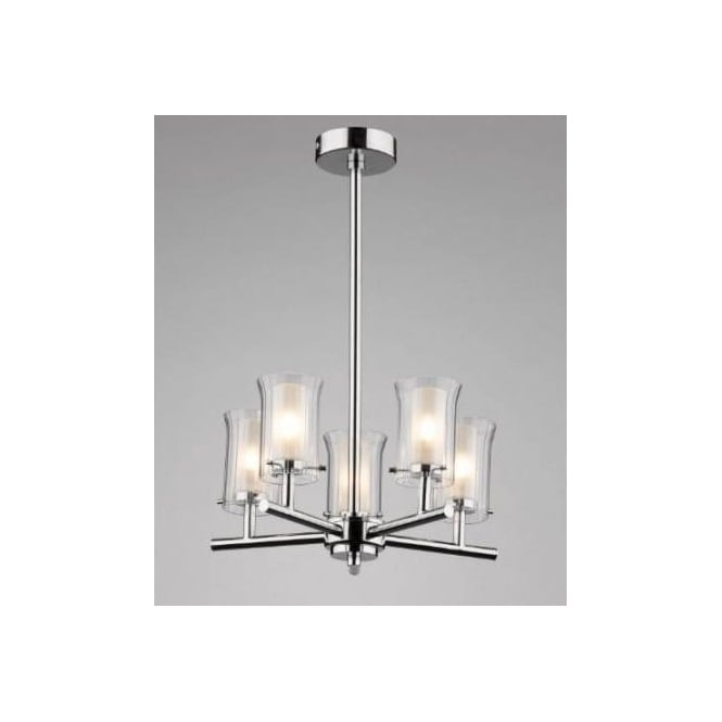 Dar ELB0550 Elba 5 light modern bathroom ceiling light polished chrome finish ip44 rated