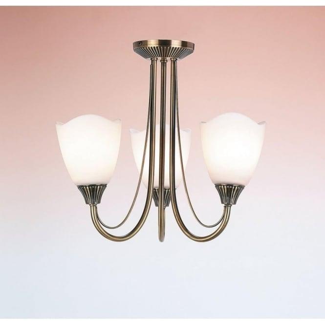 Endon 601-3AN 3 Light Ceiling Light Antique Brass