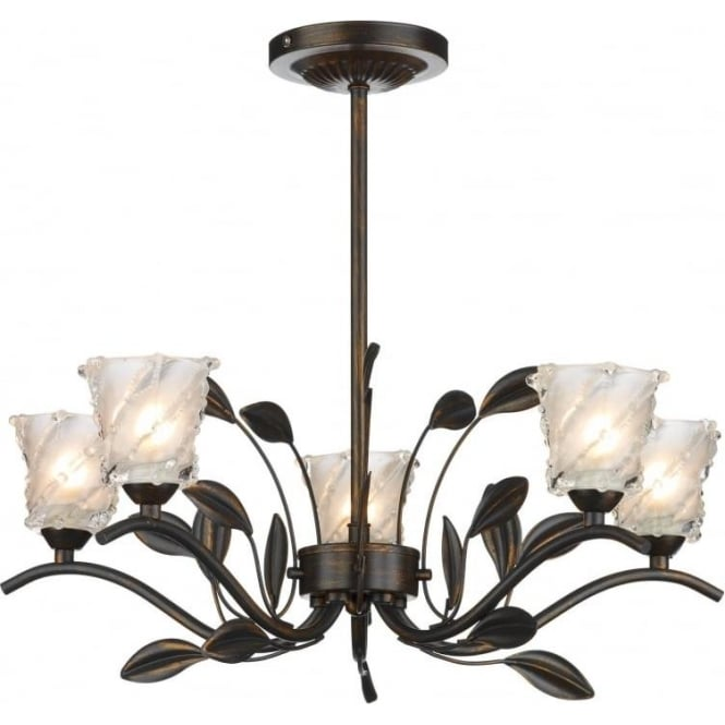 Dar PRU0563 Prunella traditional 5 light semi flush ceiling light bronze finish with opal/clear glass shades
