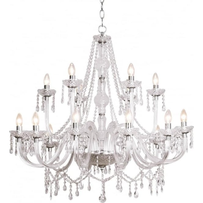 Dar KAT1850 Katie 18 light modern acrylic and crystal ceiling chandelier