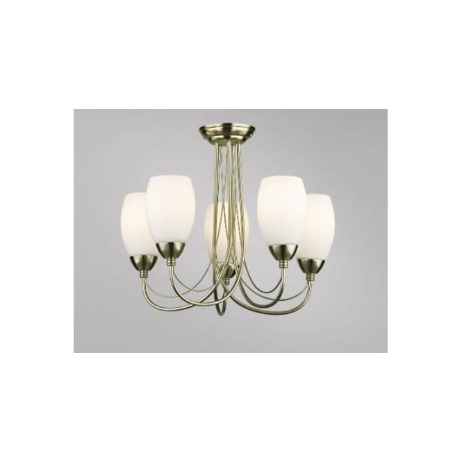 Dar LAW0575/50LE Lawrence 5 light traditional ceiling light semi flush antique brass finish