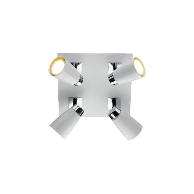 Dar LOF852 Loft 4 light modern ceiling spotlight matt white and polished chrome finish
