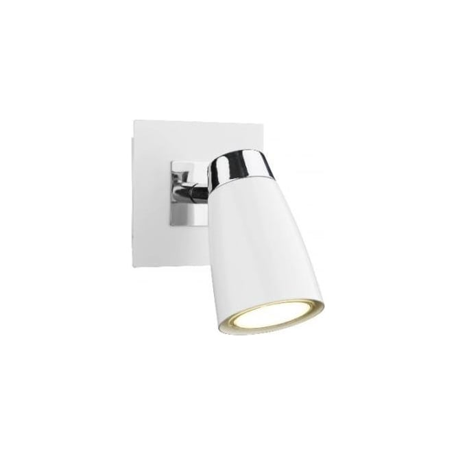 Dar LOF072 Loft 1 light modern wall spotlight matt white and polished chrome finish (SWITCHED)