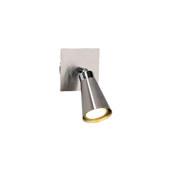 Dar MAV0746 Maverick 1 light modern low energy wall spotlight satin chrome finish (switched)