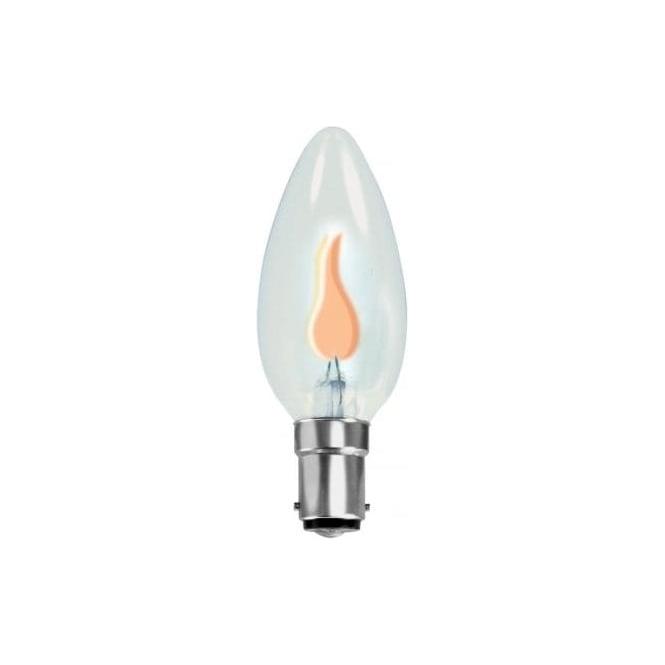 Bell 00443 SBC/B15 flicker candle 35 mm clear 240 volt bulb