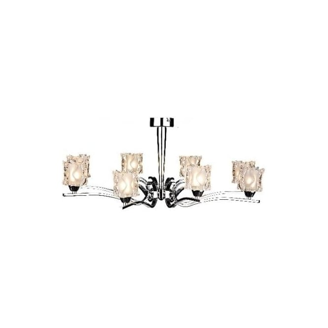 Dar ZOL0850 Zola 8 light modern ceiling light polished chrome finish