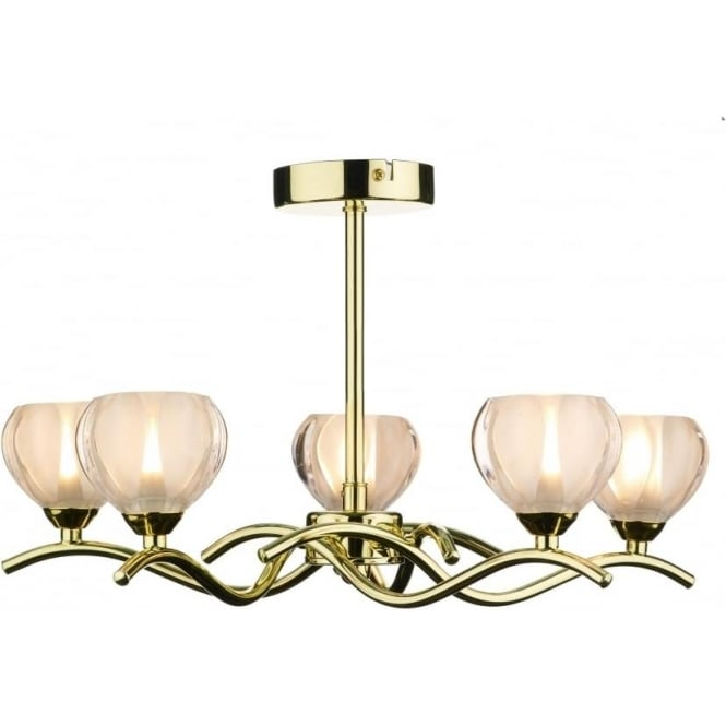 Dar CYN0540 Cynthia 5 light modern ceiling light opal glass and polished brass finish