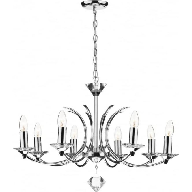 Dar MED0850 Medusa 8 light modern ceiling pendant crystal and polished chrome finish