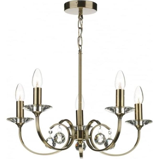 Dar ALL0575 Allegra 5 light traditional ceiling pendant antique brass finish