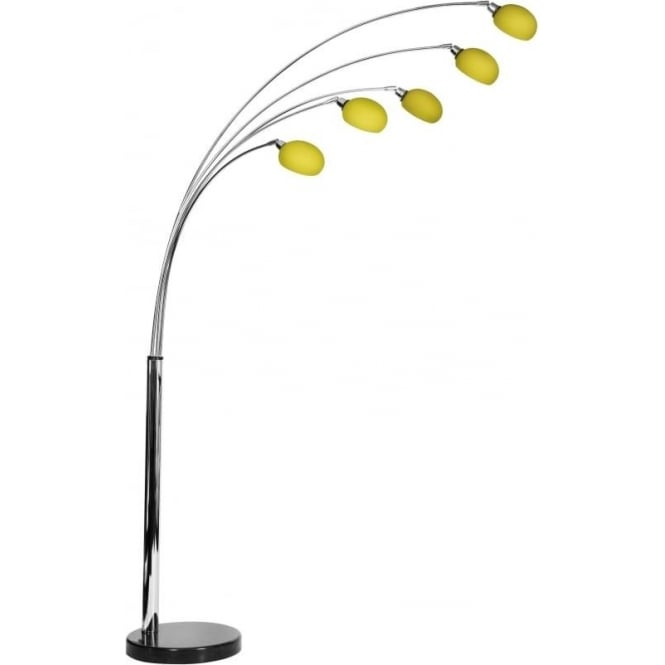 Retro Lighting L5FLOORYELLOW 5 Light modern floor lamp yellow glass shades black marble base