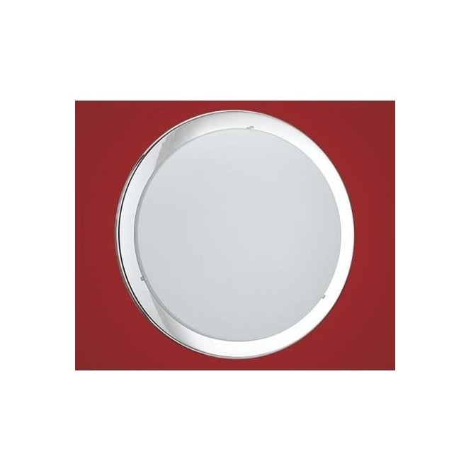 Eglo 82944 Planet 2 light modern wall/ceiling light chrome finish with a satinated glass shade