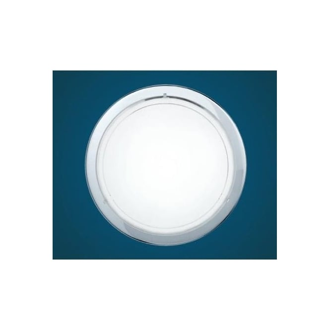 Eglo 83155 Planet 1 1 light modern wall/ceiling light chrome finish with a satinated glass shade