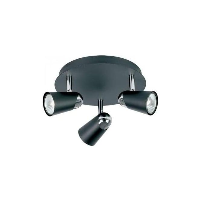 Endon EL-10053 3 Light Ceiling Spotlight Black/Chrome