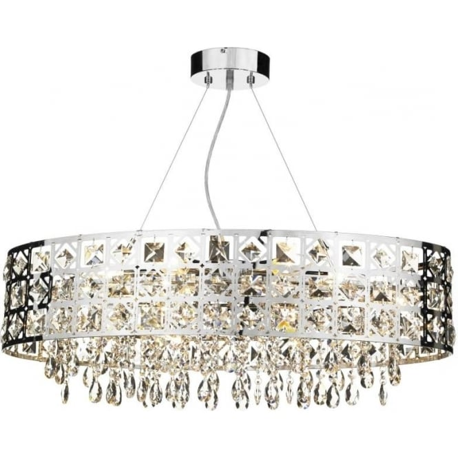 Dar DUC6450 Duchess 6 light crystal ceiling pendant polished chrome finish