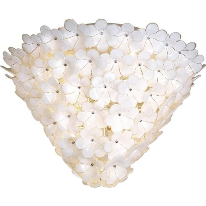 Dar BOU182 Bouquet 18 light ceiling light white flower glass