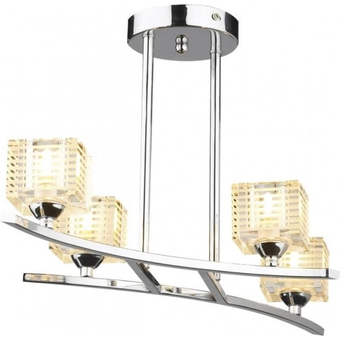 Dar TRO0450 Troy 4 Light Modern Ceiling Light Semi Flush Polished Chrome Finish
