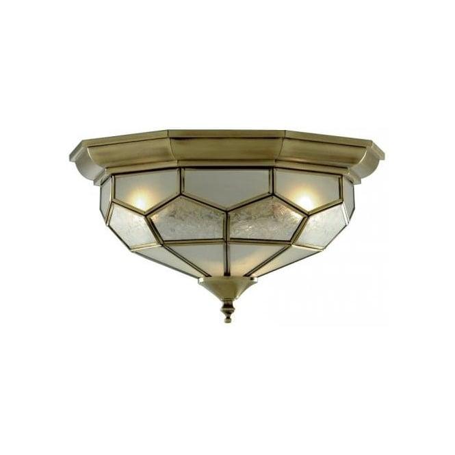 Searchlight 1243-12 Flush 2 Light Flush Ceiling Light Antique Brass