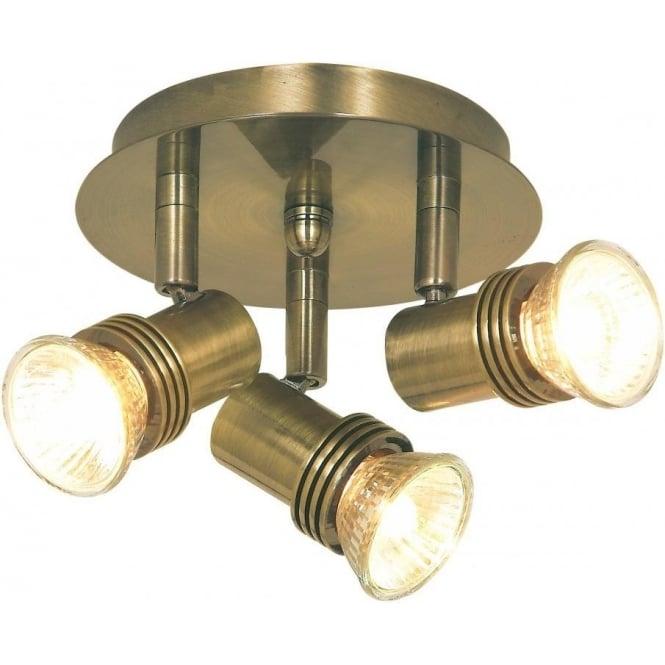 Searchlight P633AB Decco 3 Light Ceiling Spotlight Antique Brass