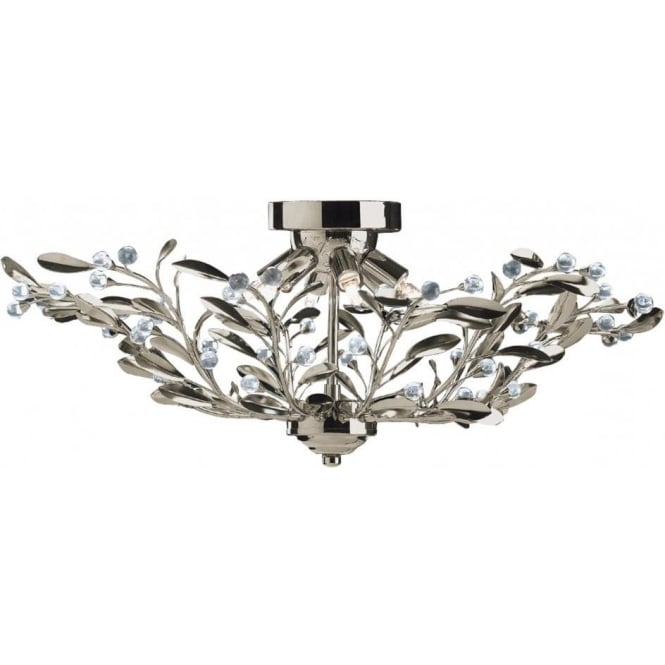 Searchlight 5256 6AB Lima 6 Light Semi Flush Ceiling Light Antique Brass