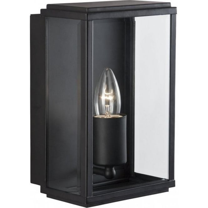 Searchlight 8204BK Outdoor Lighting 1 Light Modern Outdoor Wall Light Black Finish With Glass IP44 Rated