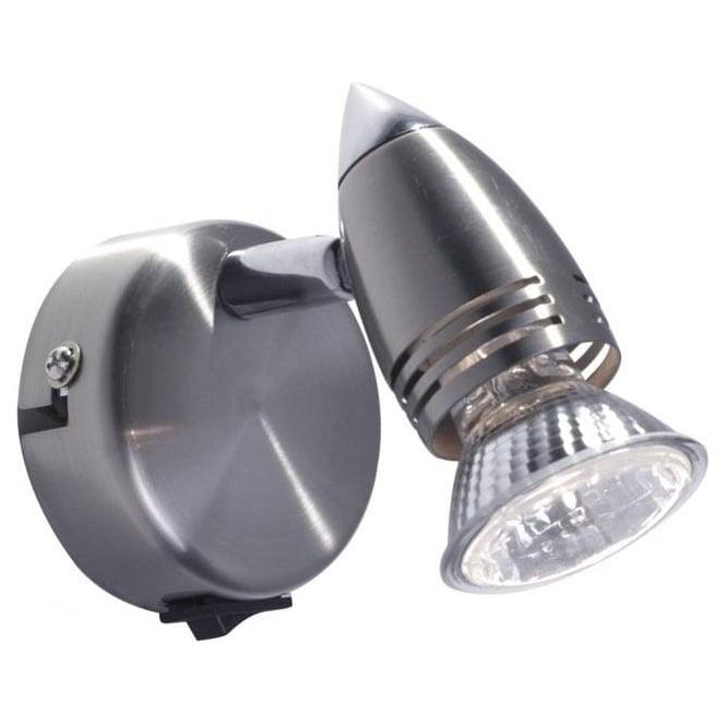 Dar GEM0746S Gemini 1 Light Switched Wall Spotlight Satin Chrome