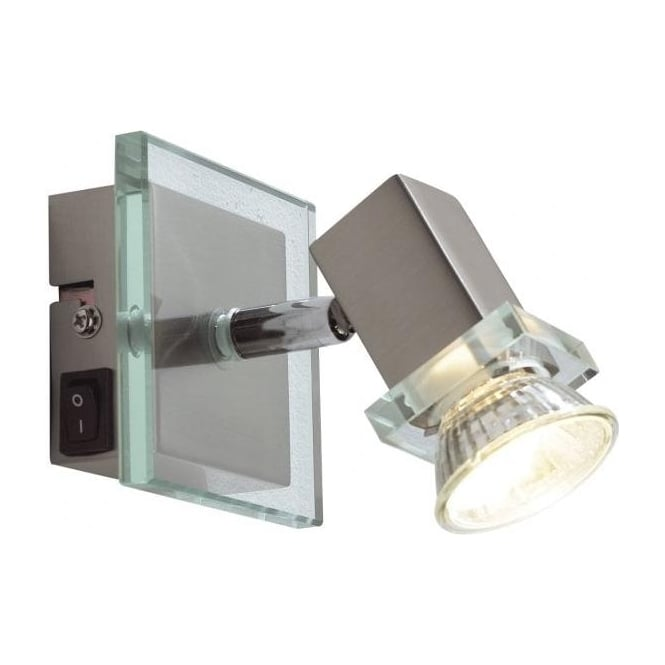 Dar Spirit 1 Light Switched Wall Spotlight Satin Chrome