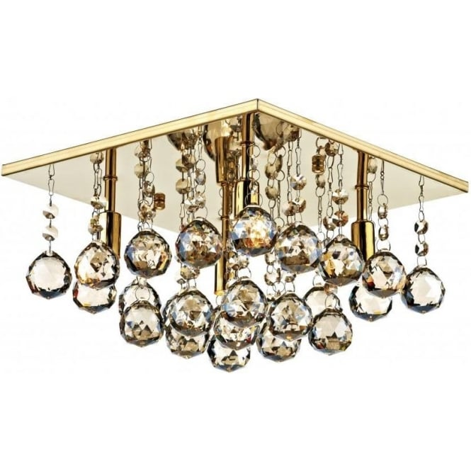 Dar ABA5240 Abacus 4 Light Crystal Flush Ceiling Light Gold