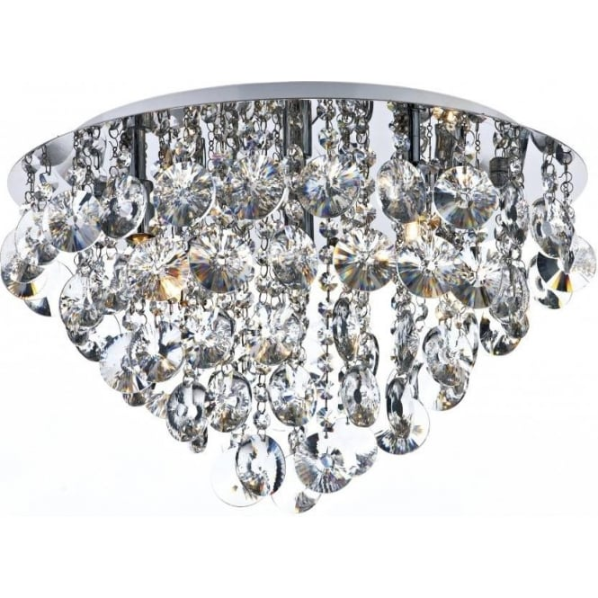 Dar JES5450 Jester 5 Light Crystal Flush Ceiling Light Polished Chrome