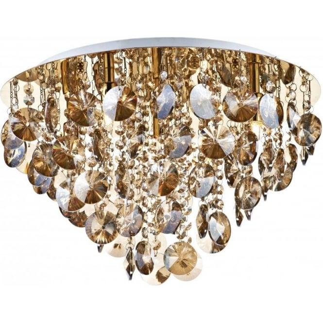 Dar JES5440 Jester 5 Light Crystal Flush Ceiling Light Gold