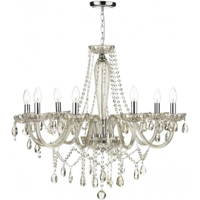 Dar RAP0806 Raphael 8 Light Ceiling Chandelier Champagne Glass