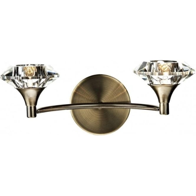 Dar LUT0975 Luther 2 Light Crystal Wall Light Antique Brass Switched