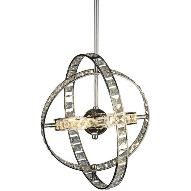 Dar ETE0650 Eternity 6 Light Crystal Ceiling Pendant Polished Chrome