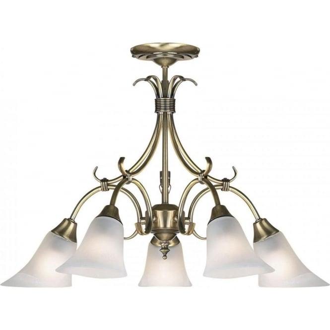 Endon 144-5AN Hardwick 5 Light Ceiling Light Antique Brass