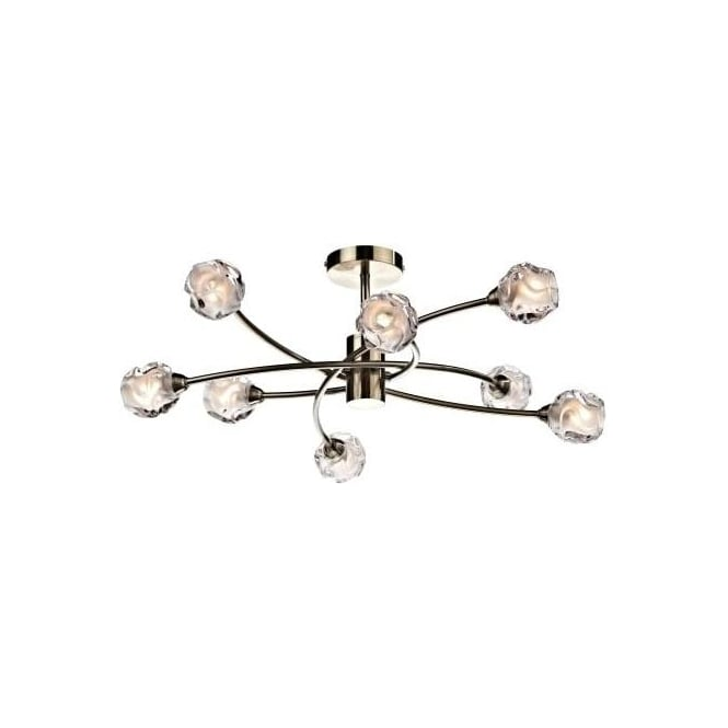 Dar SEA0875 Seattle 8 Light Ceiling Light Antique Brass