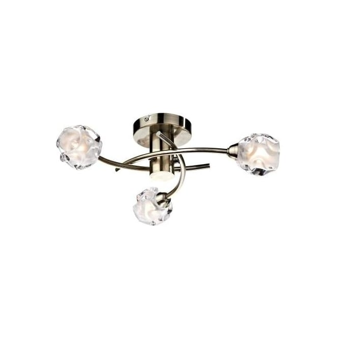 Dar SEA5375 Seattle 3 Light Ceiling Light Antique Brass