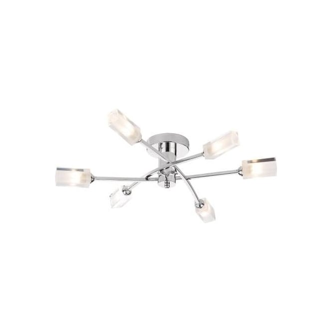Dar MOR6450 Morgan 6 Light Ceiling Light Polished Chrome
