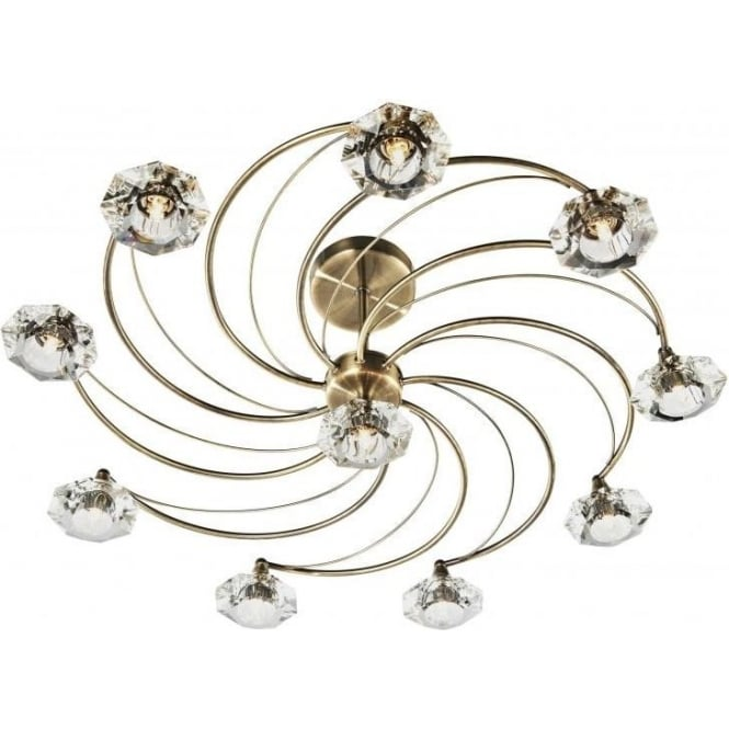 Dar Dar LUT2375 Luther 10 Light Crystal Ceiling Light Antique Brass