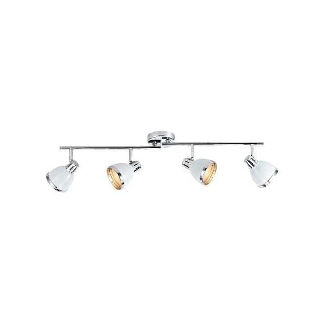 Dar OSA842 Osaka 4 Light Ceiling Spotlight Gloss White Polished Chrome