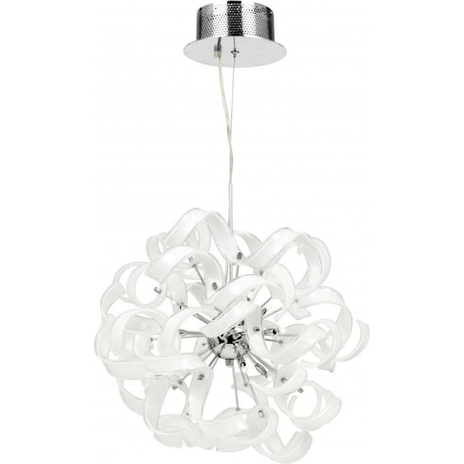Endon FONDA-9WH Fonda 9 Light Ceiling Pendant White Glass